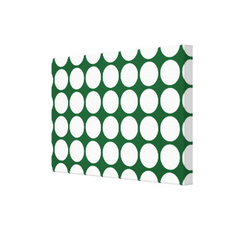 White Polka Dots on Green Canvas Print