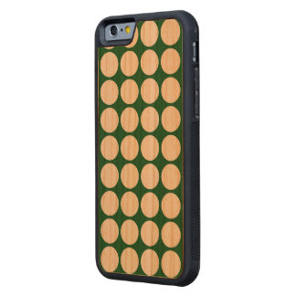 White Polka Dots on Green Carved® Cherry iPhone 6 Bumper