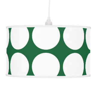 White Polka Dots on Green Ceiling Lamp