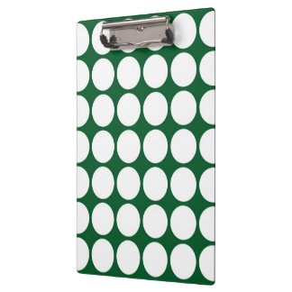 White Polka Dots on Green Clipboard
