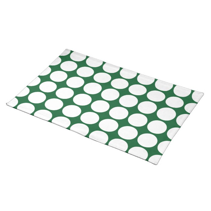 White Polka Dots on Green Cloth Placemat