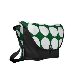 White Polka Dots on Green Courier Bags