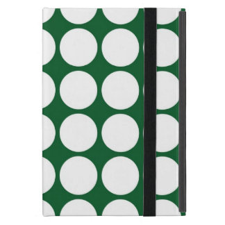 White Polka Dots on Green Cover For iPad Mini