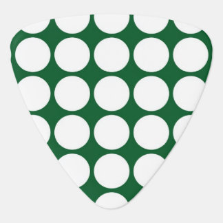 White Polka Dots on Green Guitar Pick