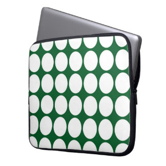 White Polka Dots on Green Laptop Sleeve