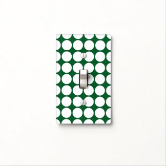 White Polka Dots on Green Light Switch Cover