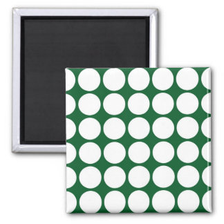 White Polka Dots on Green Magnets