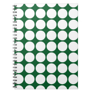White Polka Dots on Green Notebook