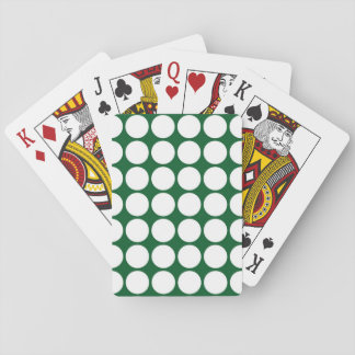 White Polka Dots on Green Playing Cards