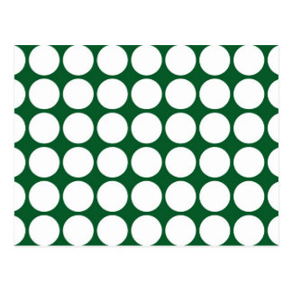 White Polka Dots on Green Post Card