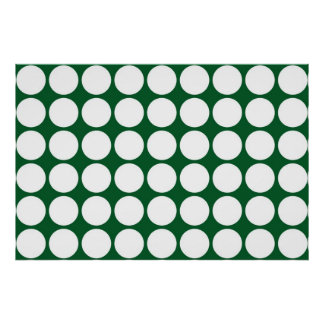 White Polka Dots on Green Poster