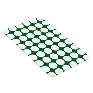 White Polka Dots on Green Rectangle Magnets