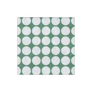 White Polka Dots on Green Stone Magnet