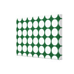 White Polka Dots on Green Stretched Canvas Prints