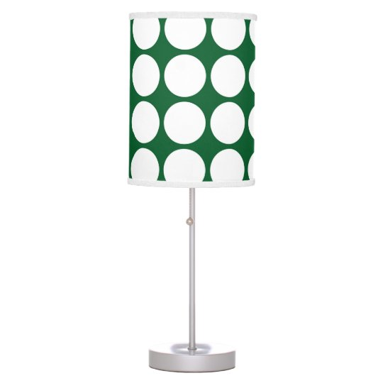 White Polka Dots on Green Table Lamp