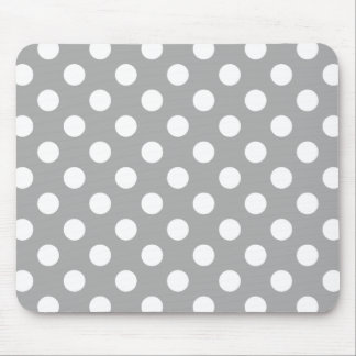 White polka dots on grey mouse pad