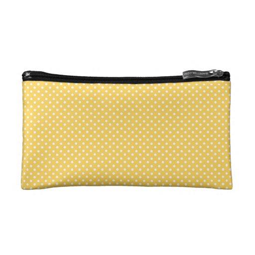 White Polka Dots on Honey Yellow Pattern Makeup Bag