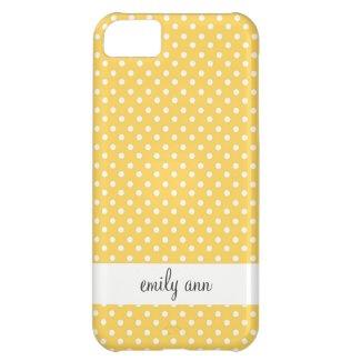 White Polka Dots on Honey Yellow Pattern iPhone 5C Case