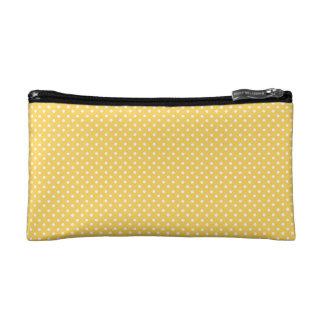White Polka Dots on Honey Yellow Pattern Cosmetic Bag