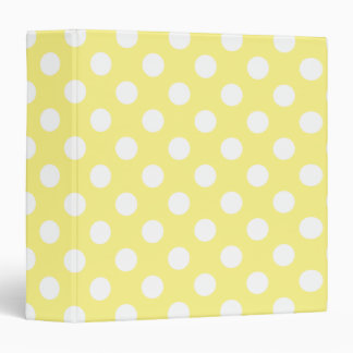 White polka dots on lemon yellow binder