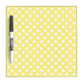 White polka dots on lemon yellow Dry-Erase board