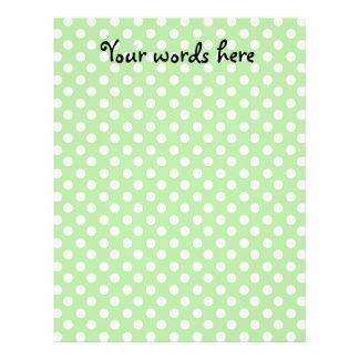 "White polka dots on light green background 8.5"" x 11"" flyer"