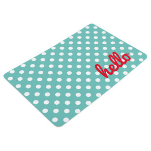 White Polka Dots on Light Teal Personalized Floor Mat