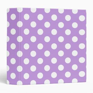 White polka dots on lilac binder