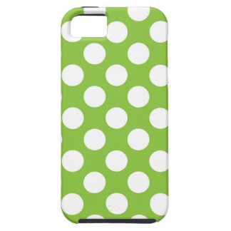 White Polka Dots on Lime Green iPhone SE/5/5s Case