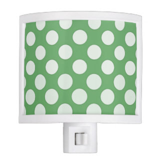 White polka dots on lime green night light