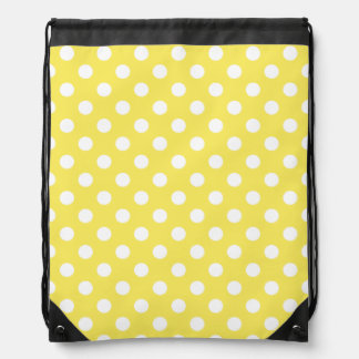 White Polka Dots on Maize Yellow Background Drawstring Backpack