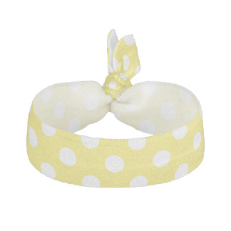 White Polka Dots on Maize Yellow Background Ribbon Hair Tie