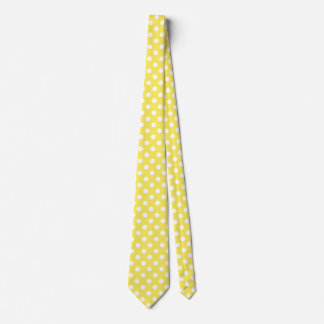 White Polka Dots on Maize Yellow Background Tie