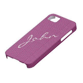 White Polka Dots on Maroon iPhone 5 Cover Template