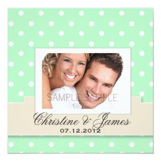 "White polka dots on mint invitation & your photo 5.25"" square invitation card"