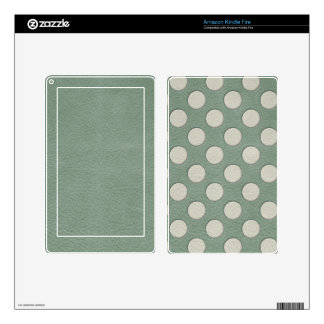 White Polka Dots on Mint Leather Print Decals For Kindle Fire