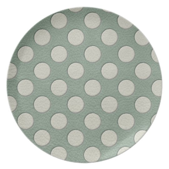 White Polka Dots on Mint Leather Print Melamine Plate