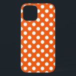 "White polka dots on orange iPhone 12 case<br><div class=""desc"">White polka dots on orange</div>"