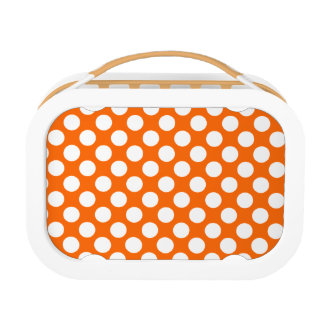 White Polka Dots on Orange Yubo Lunch Box