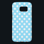 "White polka dots on pale blue samsung galaxy s7 case<br><div class=""desc"">White polka dots on pale blue</div>"