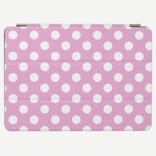 White polka dots on pale pink iPad air cover