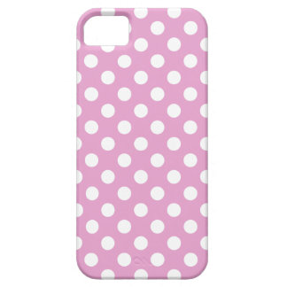 White polka dots on pale pink iPhone SE/5/5s case
