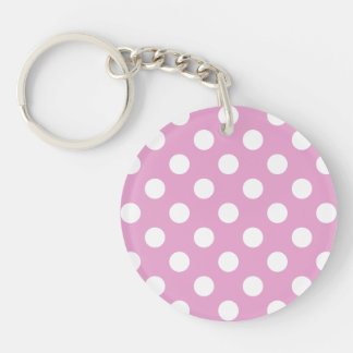 White polka dots on pale pink keychain