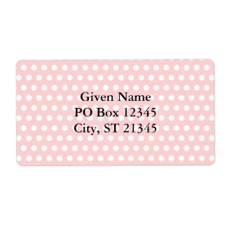 White Polka Dots on Pale Pink Personalized Shipping Label