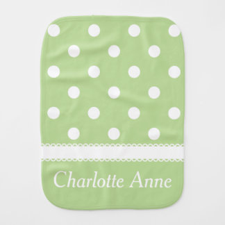 White Polka Dots on Pastel Mint Green Personalized Burp Cloth