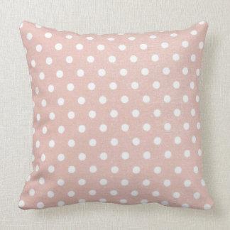 White Polka Dots on Peach Pillow