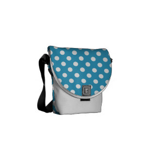 White Polka Dots on Peacock Blue Background Courier Bag