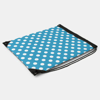 White Polka Dots on Peacock Blue Background Drawstring Backpack