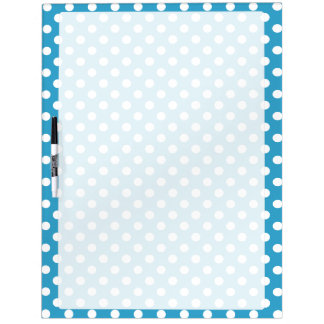 White Polka Dots on Peacock Blue Background Dry Erase Board
