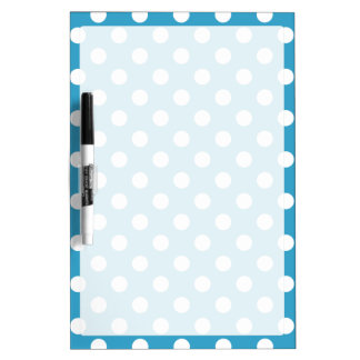 White Polka Dots on Peacock Blue Background Dry-Erase Board